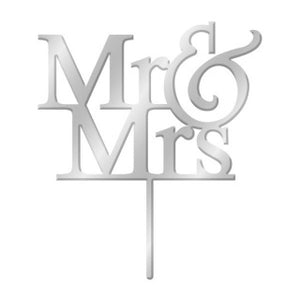 MR & MRS SILVER MIRROR ACRYLIC CAKE TOPPER