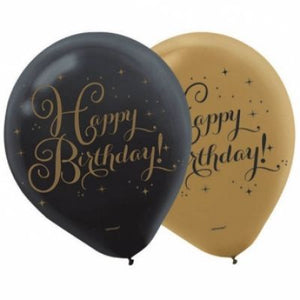 "LATEX 12"" GOLD AND BLACK BIRTHDAY 6 PACK"