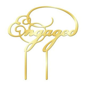 ENGAGED GOLD MIRROR ACRYLIC CAKE TOPPER