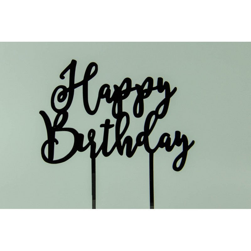 HAPPY BIRTHDAY - BLACK ACRYLIC TOPPER