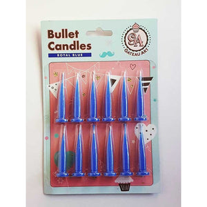 ROYAL BLUE BULLET CANDLE 12 PACK