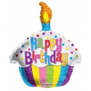 "12"" FOIL BIRTHDAY BRIGHT CUPCAKE (AIR FILL ONLY)"