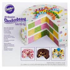 WILTON - 4 PIECE CHECKERBOARD CAKE SET