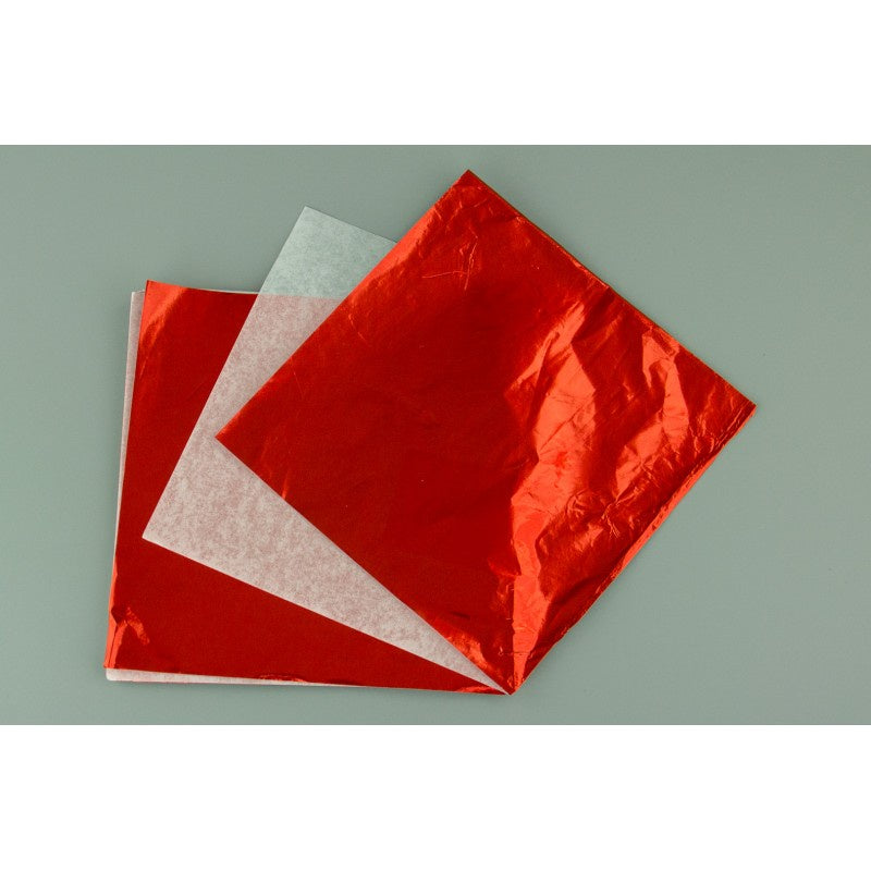 LARGE CHOCOLATE FOIL WRAP | RED (10 PIECE) 6X6