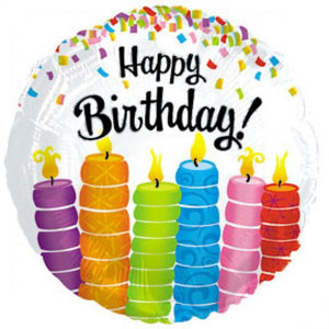 FOIL 45CM HAPPY BIRTHDAY COLOURFUL CANDLES