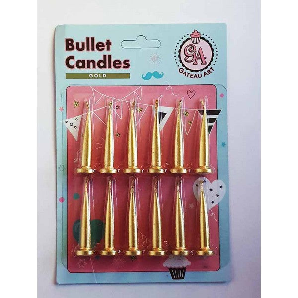 GOLD METALLIC BULLET CANDLE 12 PACK