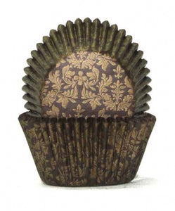 408 BAKING CUPS - CHOCOLATE/GOLD HIGH TEA - 100 PIECE PACK