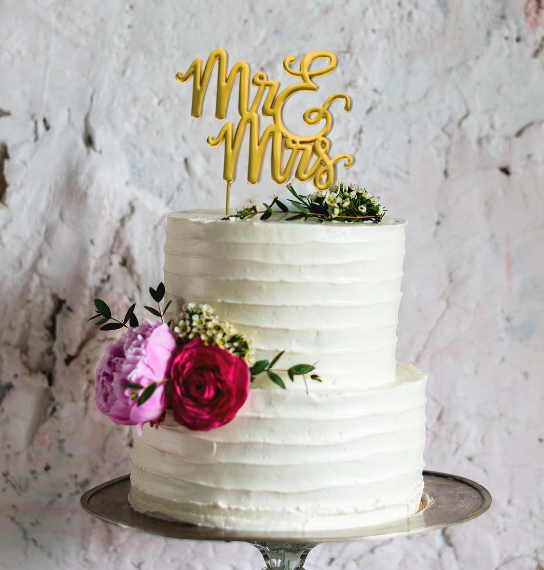 GOLD PLATED CAKE TOPPER -MR & MRS