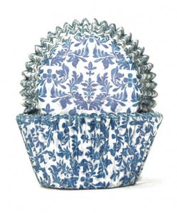 408 BAKING CUPS - BLUE/WHITE HIGH TEA - 100 PIECE PACK