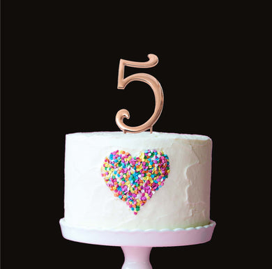 ROSE GOLD CAKE TOPPER (7CM) -NUMBER 5