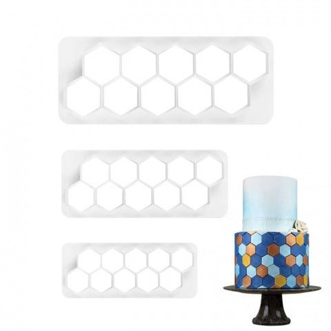 HEXAGON PATTERN IMPRESSION CUTTER SET 3 PCE