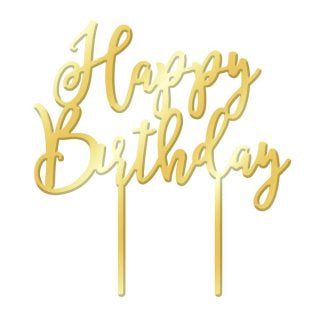 HAPPY BIRTHDAY GOLD MIRROR ACRYLIC CAKE TOPPER