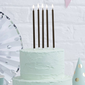 TALL CAKE CANDLES - BLACK