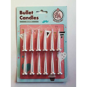 SILVER METALLIC BULLET CANDLE 12 PACK