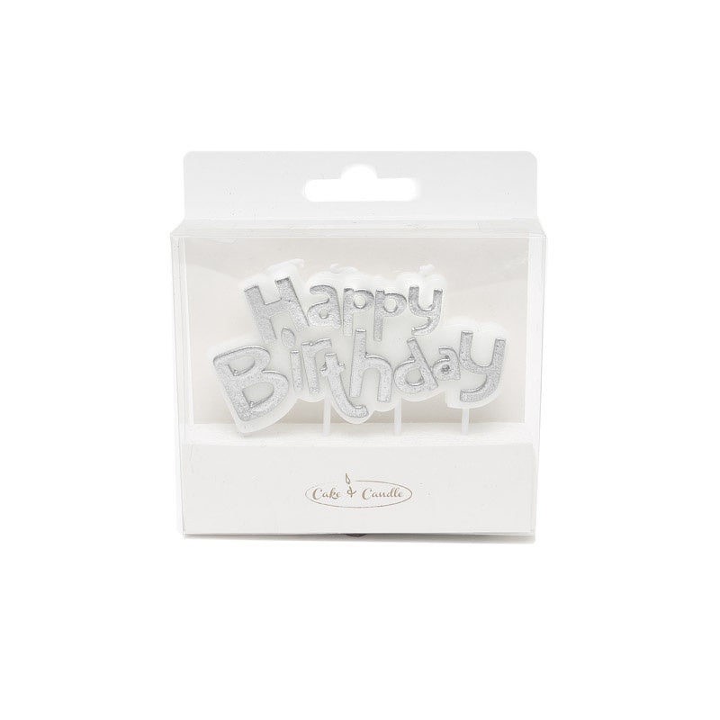 SILVER HAPPY BIRTHDAY PLAQUE CANDLE