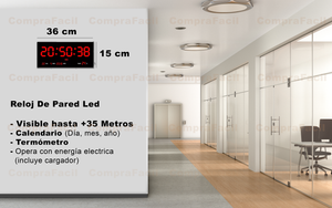 Reloj Led de Pared Números Rojos 36 cm x 15 cm GP3615