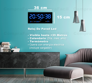 Reloj Led de Pared Números Azules 36 cm x 15 cm GP3615B