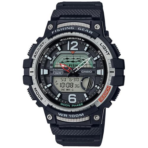 Reloj Casio WSC1250 Negro Fishing Time y Fases Lunares