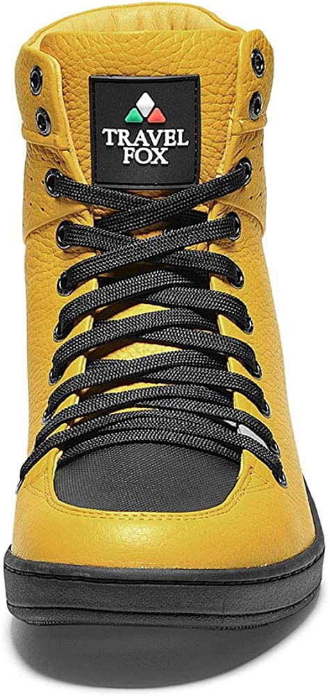 TRAVEL FOX Men's Classic 900 Nappa Leather Round Toe Lace-Up High-Tops