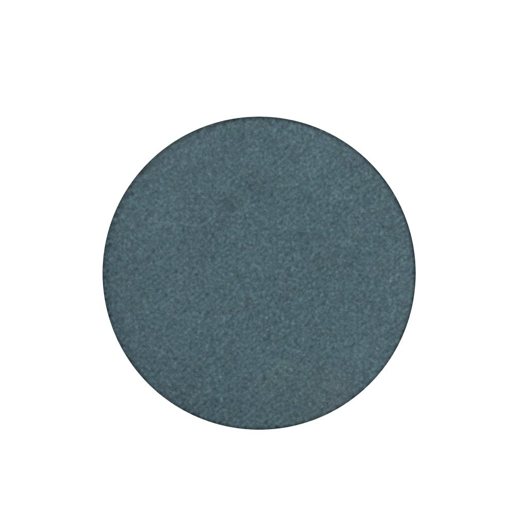 A frosted dark peacock teal blue single eyeshadow. Beautiful, long-lasting color.