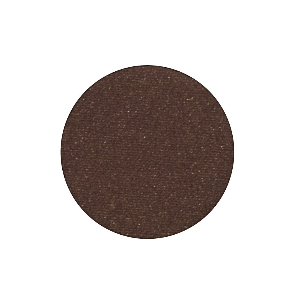 A deep chocolate brown with gold glimmer single eyeshadow. Beautiful, long-lasting color.