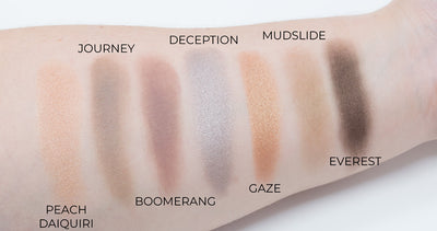 Allure Cosmetics eyeshadow swatches on arm.