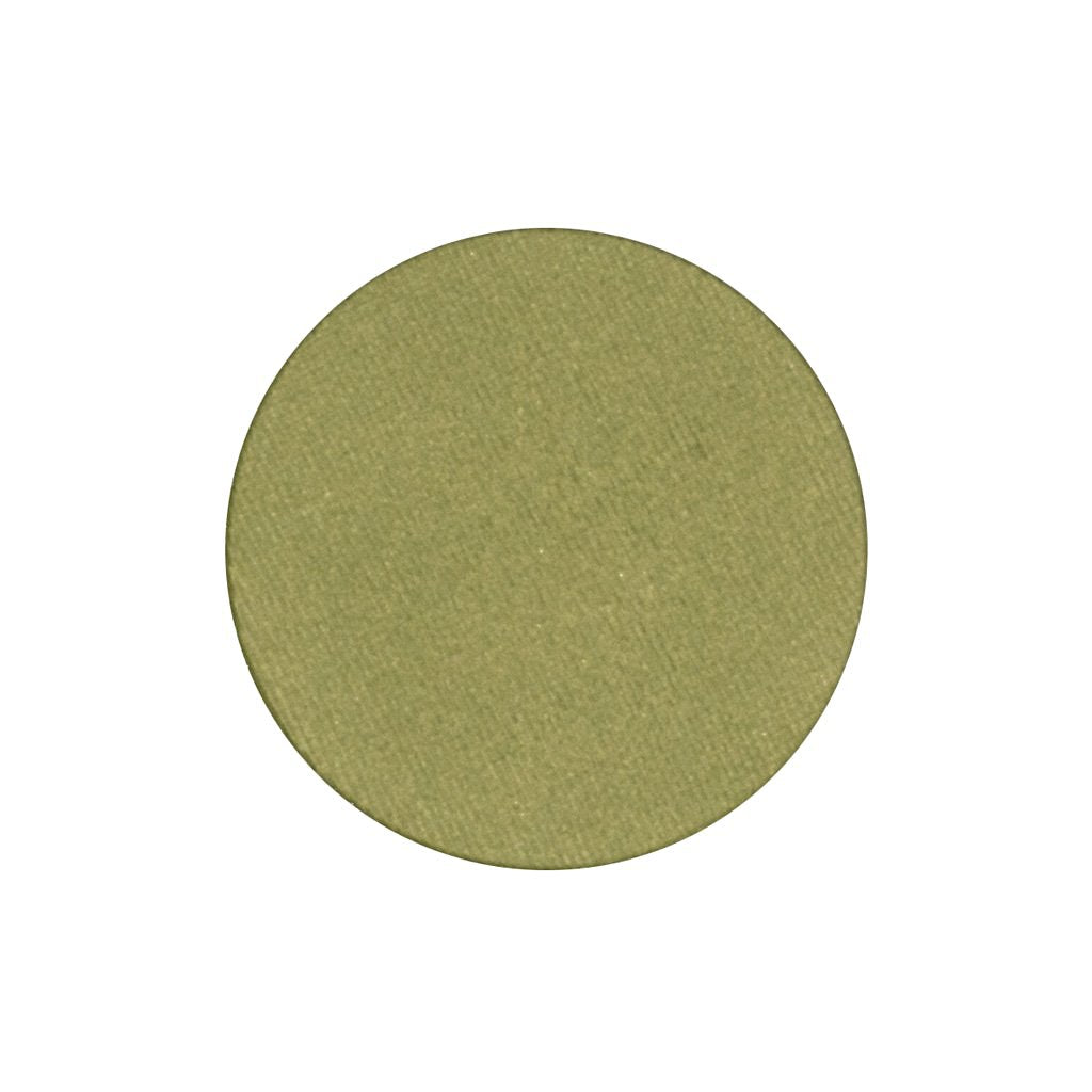 A frosted light olive green single eyeshadow. Beautiful, long-lasting color.