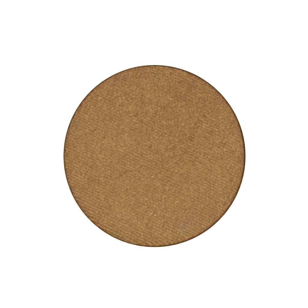 A frosted bronze gold single eyeshadow. Beautiful, long-lasting color.