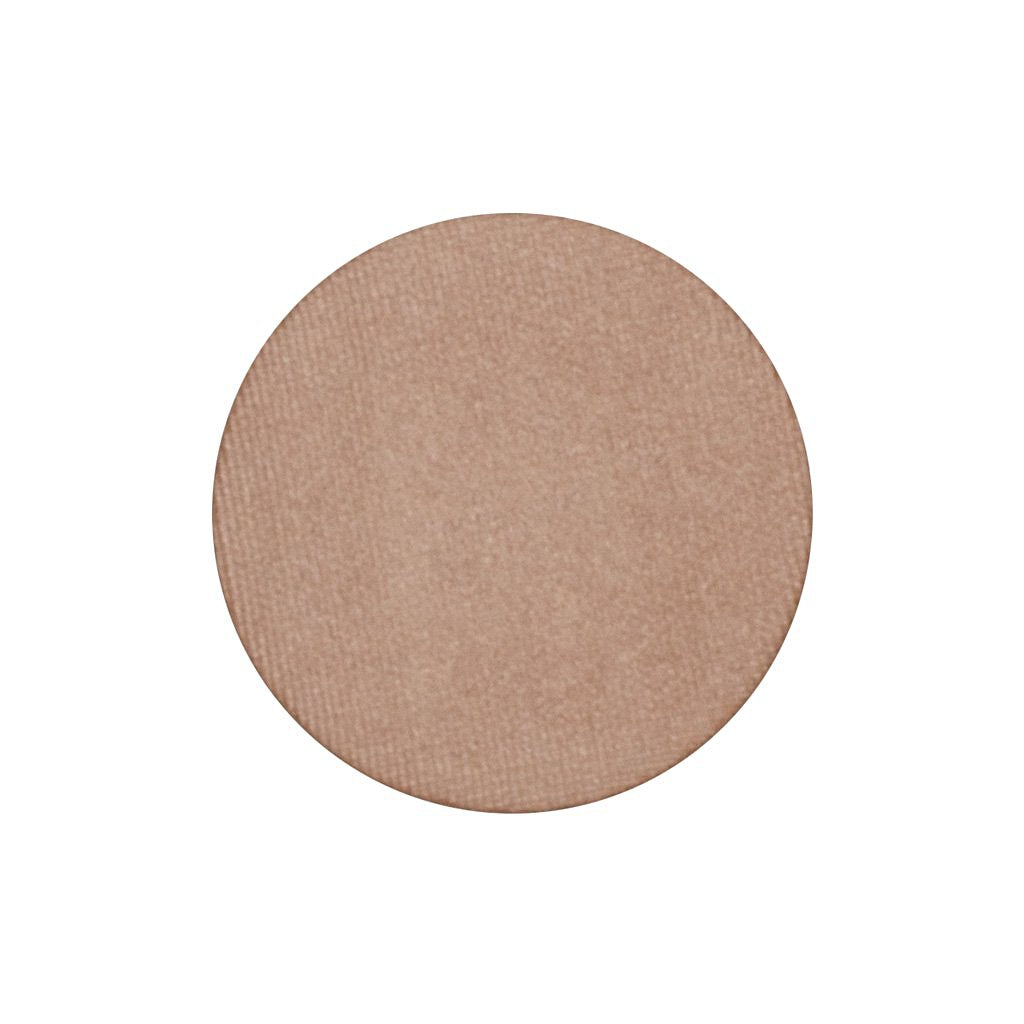 A frosted light peach shimmer single eyeshadow. Beautiful, long-lasting color.