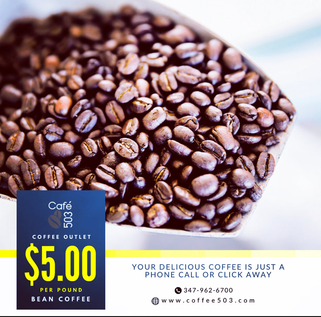 COFFEE OUTLET (BEAN COFFEE) minimum order for delivery 3 pounds
