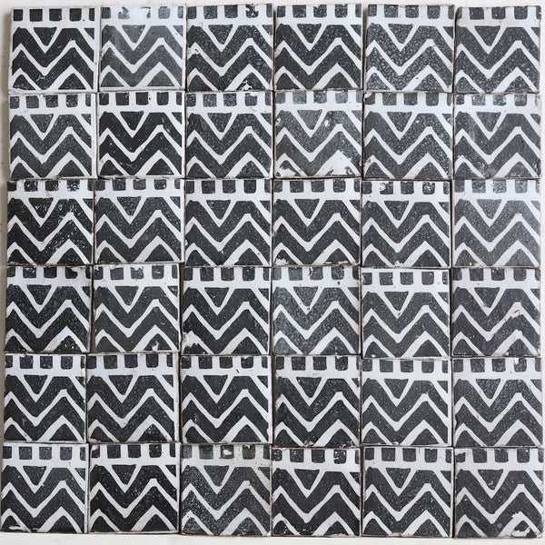 Geometric black and white matt glaze 100x100