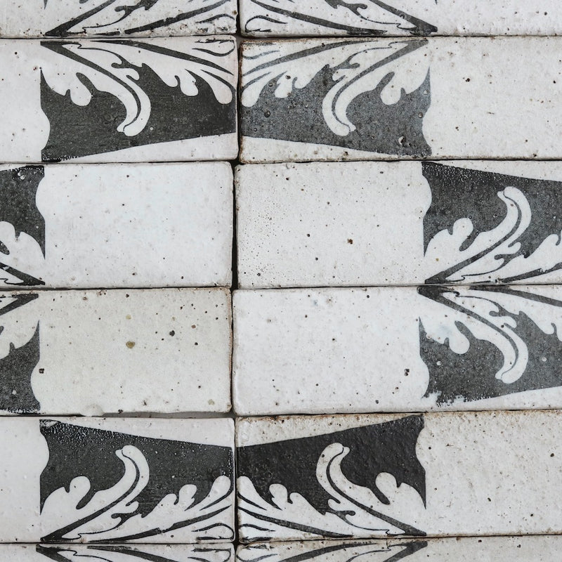 Pascalli Rectangular Tile Black Floral Pattern Matt Glaze