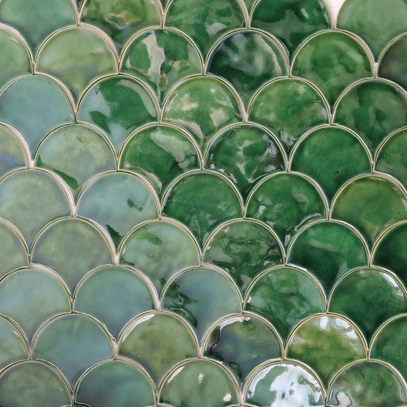 Fish Scale Tile Green Glaze