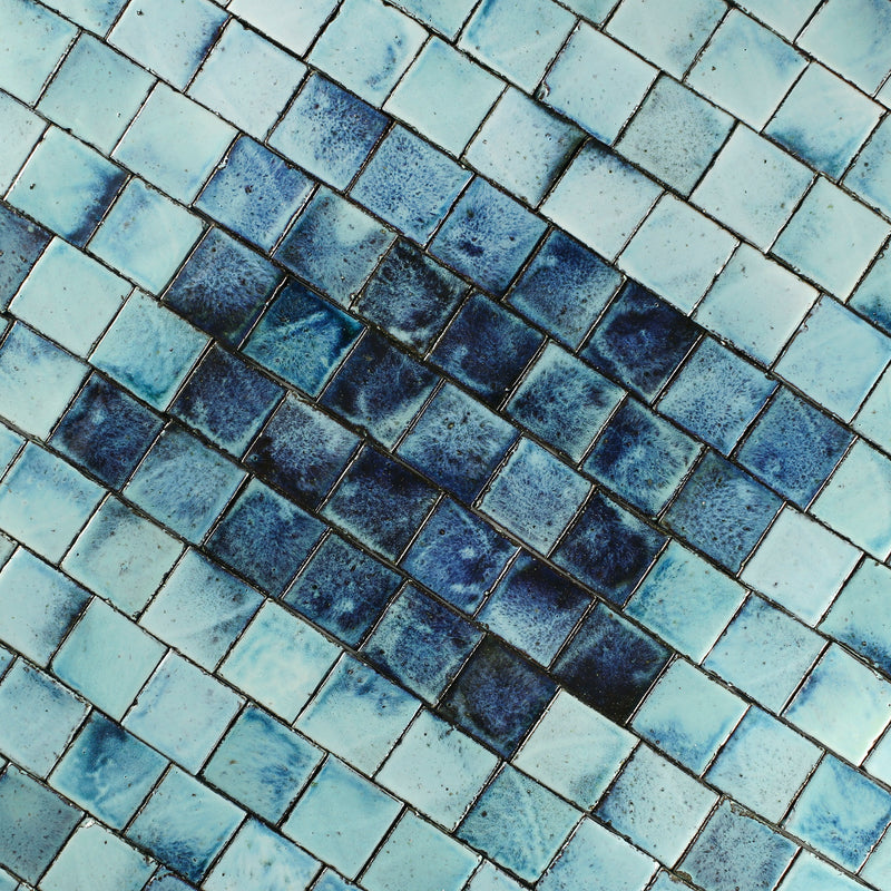 Square Chunky Tile Glassy Aqua to deep blue blend