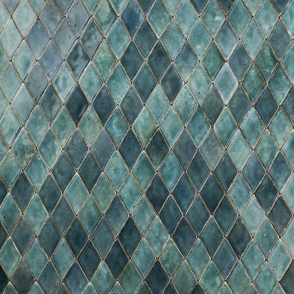 Handmade diamond tile Glassy greens