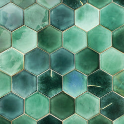 Green Glazed hexagon Tile