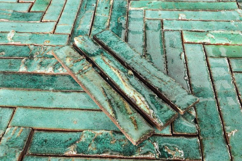Slender Sculptural Rectangular Tile Green Glaze