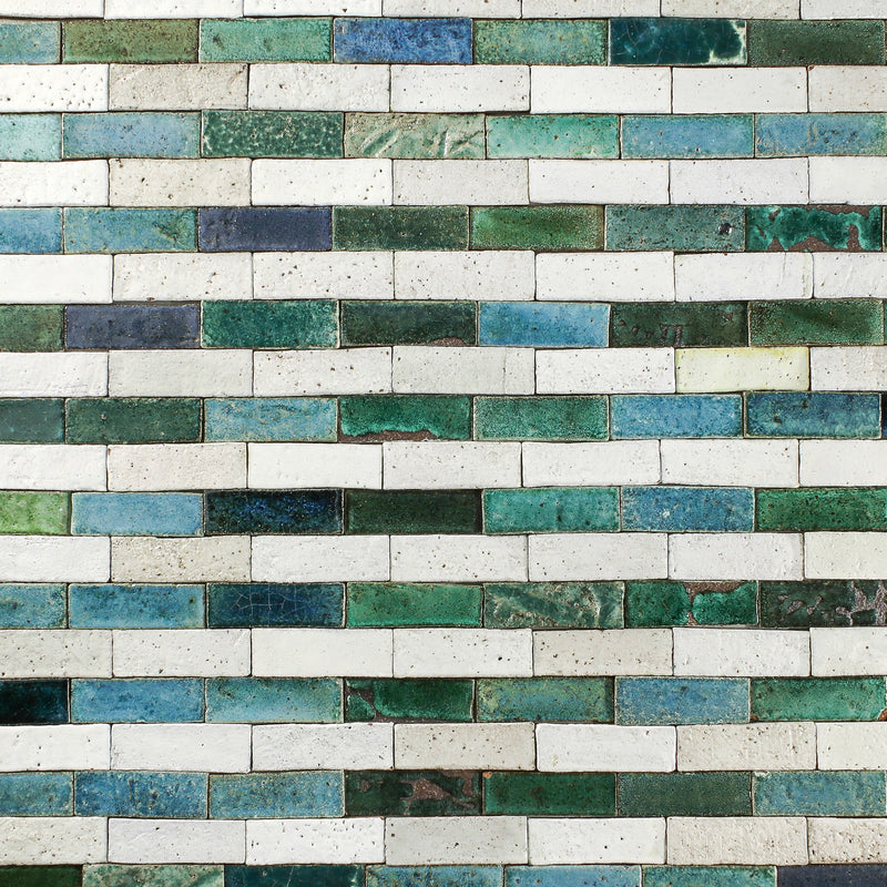 Rectangular Klompie Tile Assorted Matt White and Greens