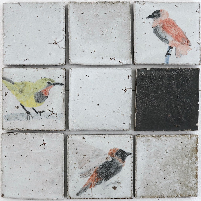 Hand Painted Birds 100x100