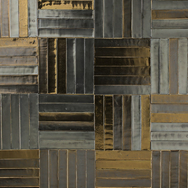 Rectangular Tile Metallic bronze matt and gloss