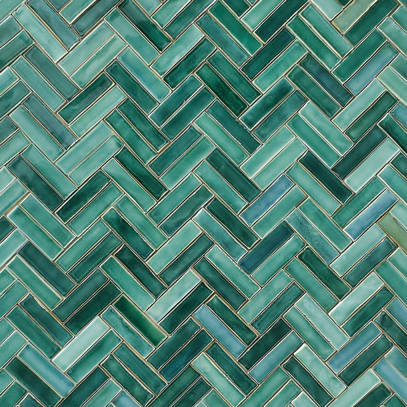 Green Glazed Klompie Tile