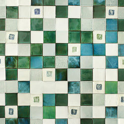 Hand made assorted square tiles green