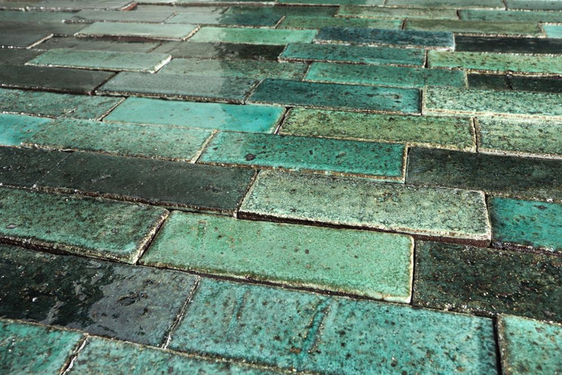Rectangular Klompie Tile Glassy Aqua to Deep Green