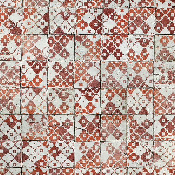 Chunky square tile red pattern and plain on matt white