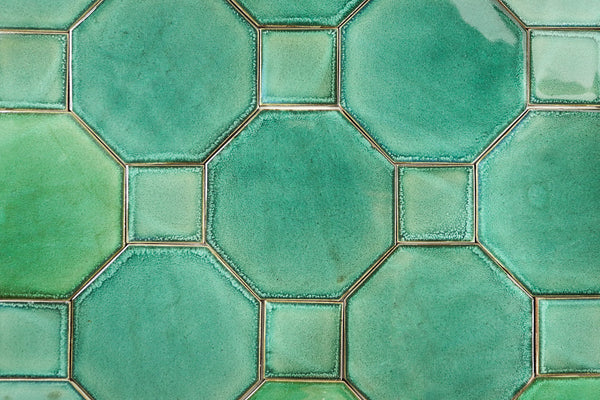 Green Glazed hexagon and small square inset Tile