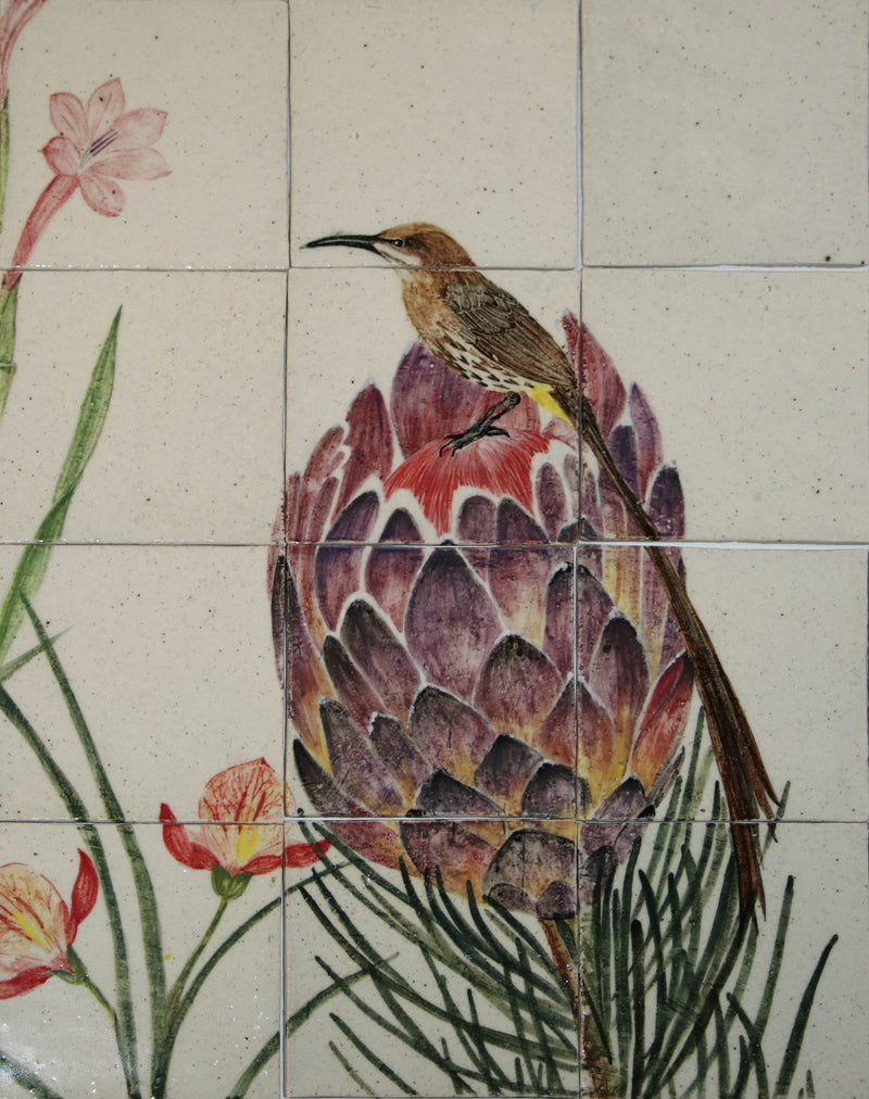 HAND PAINTED FYNBOS AND BIRD MURAL