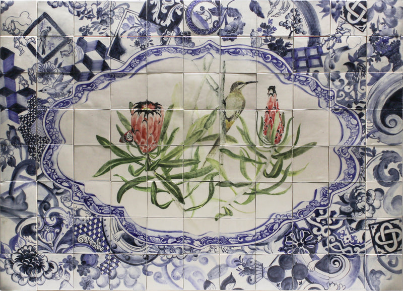 HAND PAINTED FYNBOS AND BLUE DELFT MURAL