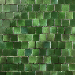 Glazed gloss green chunky tile