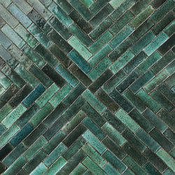 Rectangular Klompie Tile Glassy Deep Greens