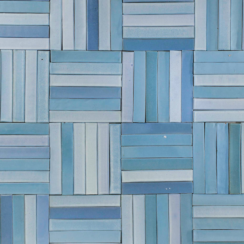 Rectangular hand made tile Satin Matt Sky Blue glaze